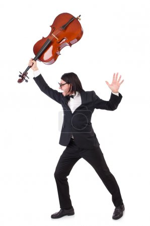 Photo for Funny man with music instrument on white - Royalty Free Image