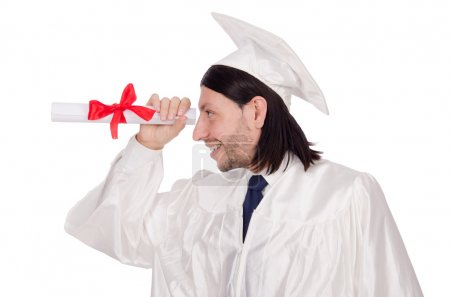Photo for Young male student graduated from high school on white - Royalty Free Image