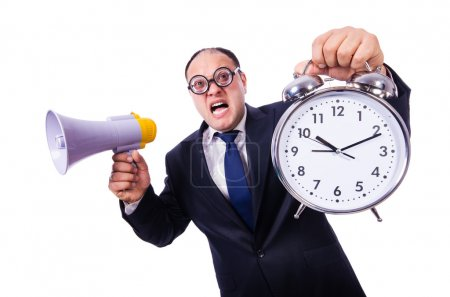 Funny businessman with clock