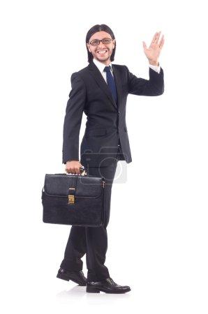Photo pour Jeune homme d'affaires isolé sur fond blanc - image libre de droit