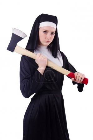 Nun with axe isolated on white...