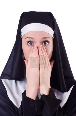 Photo pour Nonne isolée sur le fond blanc - image libre de droit