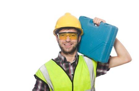Photo pour Travailleur industriel dans un casque isolé sur le fond blanc - image libre de droit