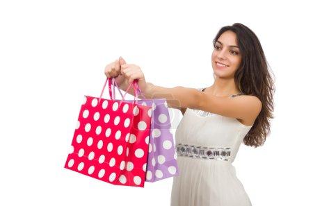 Photo pour Femme avec des sacs à provisions isolés sur blanc - image libre de droit
