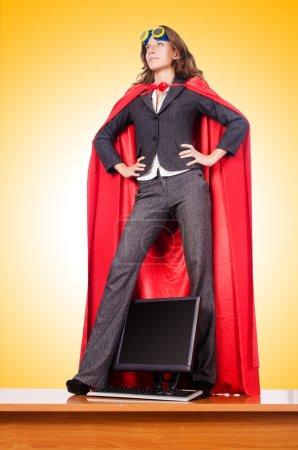Foto de Empresaria en el concepto de mujer super - Imagen libre de derechos