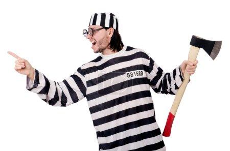 Photo pour Détenu de la prison isolé sur fond blanc - image libre de droit