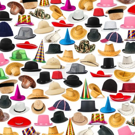 Many hats arranged as background