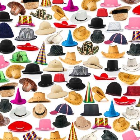 Muchos sombreros dispuestos como fondo
