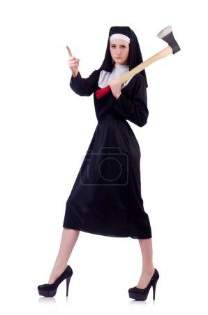 Young  Nun with axe