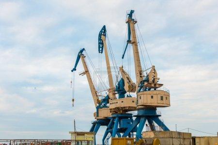 Port cranes on bright day