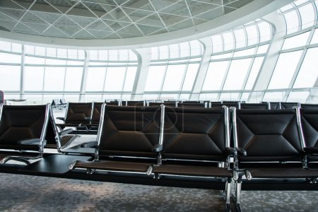 Photo for Black Chairs in the airport lounge area - Royalty Free Image