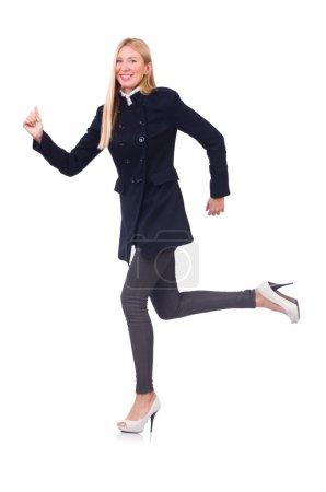 Woman in dark coat