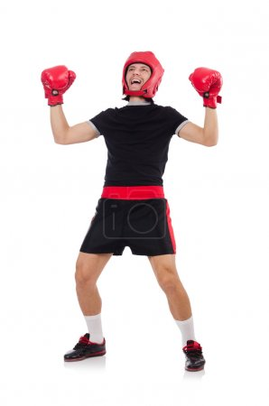Funny boxer with red glovers