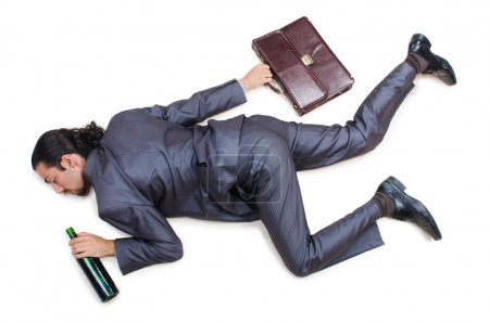 Photo for Businessman on the floor isolated on white - Royalty Free Image