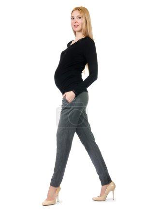 Photo pour Belle femme enceinte isolée sur blanc - image libre de droit