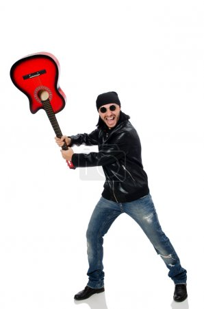 Photo for Guitar player isolated on the white - Royalty Free Image