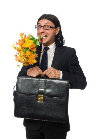 schöner Geschäftsmann mit Blume und Aktentasche isoliert auf weiß