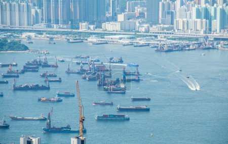 Photo for Busy Hong Kong port with many ships - Royalty Free Image