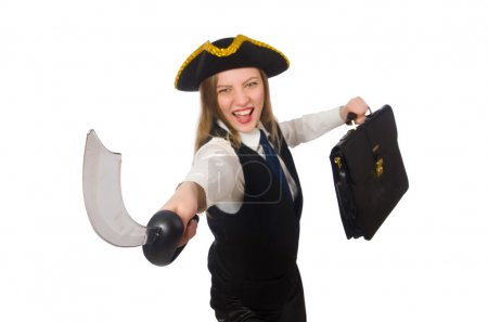 Pirate girl holding bag and sword isolated on whit...