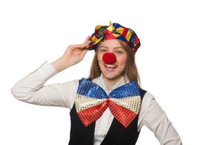 Photo pour Jolie clown femelle isolée sur blanc - image libre de droit