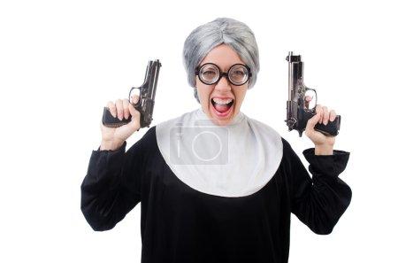 Photo pour Nonne comique isolée sur blanc - image libre de droit