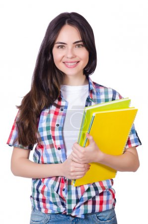 Photo for Student girl with books on white - Royalty Free Image