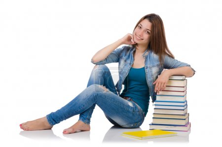 Student girl with books on white