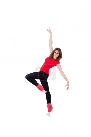 Woman doing exercises on white