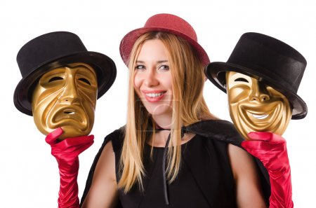 Woman with theater masks