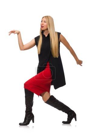 Pretty young girl in bordo skirt