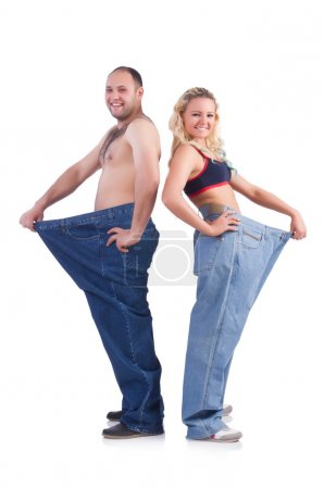 Woman and man loosing weight isolated on white