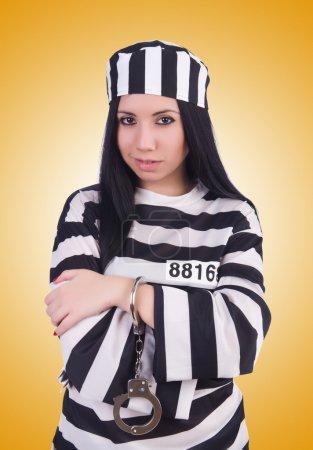 Photo pour Prisonnier en uniforme rayé blanc - image libre de droit