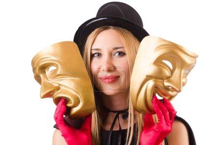 Photo pour Femme avec masques de théâtre isolé sur blanc - image libre de droit