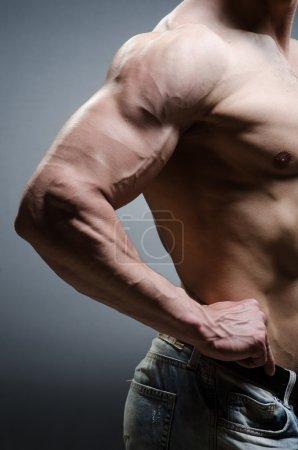 Photo for Muscular man posing in dark studio - Royalty Free Image