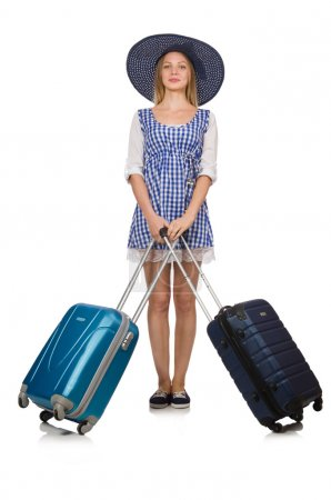 Photo for Woman ready for summer travel isolated on white - Royalty Free Image