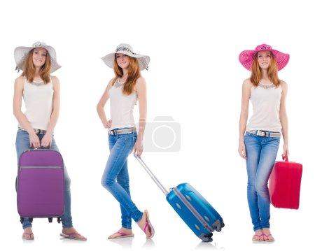 Photo pour Ensemble de photos avec femme voyageant isolée sur blanc - image libre de droit