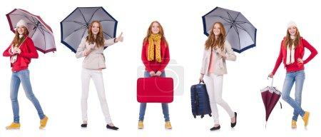 Photo pour Ensemble de photos avec femme et parapluie isolé sur blanc - image libre de droit
