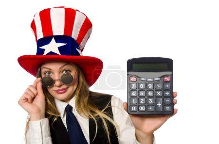 Photo pour Femme avec calculatrice isolée sur blanc - image libre de droit