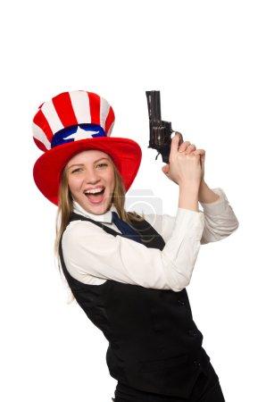 Photo pour Femme portant chapeau avec symboles américains - image libre de droit