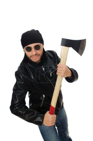 Photo pour Homme en colère avec hache isolé sur blanc - image libre de droit