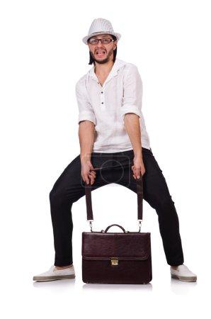 Photo pour Jeune homme avec chapeau et sac à main isolé sur blanc - image libre de droit