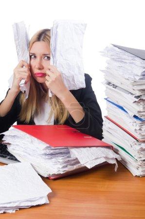 Photo pour Femme d'affaires travaillant isolée sur blanc - image libre de droit