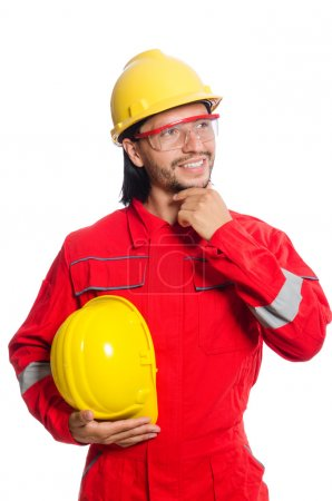 Photo for Man wearing red coveralls isolated on white - Royalty Free Image