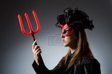 Photo for Funny deveil in halloween concept - Royalty Free Image