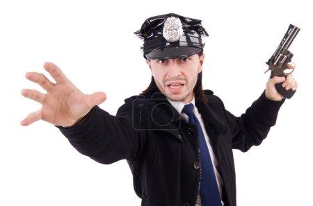 Photo pour Agent de police isolé sur blanc - image libre de droit