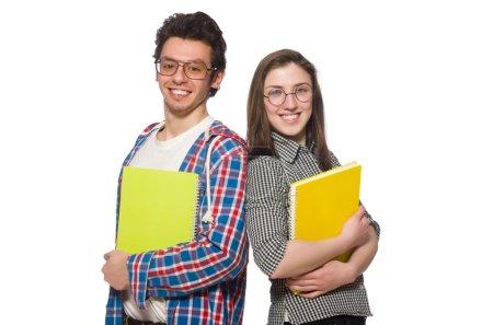 Photo pour Paire d'étudiants isolés sur blanc - image libre de droit