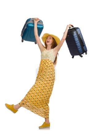Photo pour Femme prête pour les voyages d'été isolé sur blanc - image libre de droit