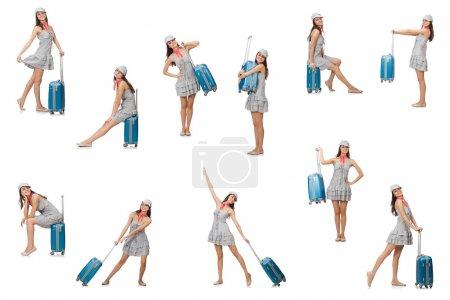 Photo pour Femme voyageuse avec valise isolée sur blanc - image libre de droit
