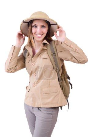 Photo pour Femme portant un chapeau safari sur blanc - image libre de droit