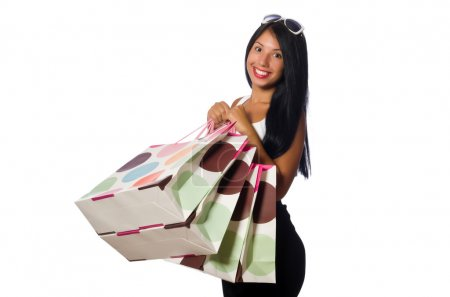 Photo for Woman with shopping bags on white - Royalty Free Image